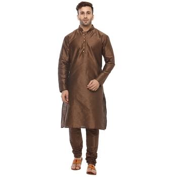 Brown Plain Silk Blend Kurta Pajama