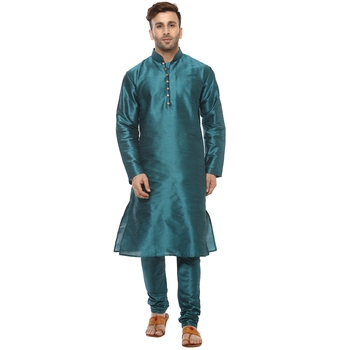 Green Plain Silk Blend Kurta Pajama