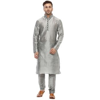Grey Plain Silk Blend Kurta Pajama