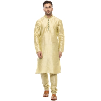 Gold Plain Silk Blend Kurta Pajama