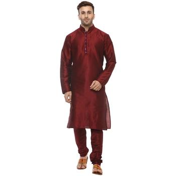 Maroon Plain Silk Blend Kurta Pajama