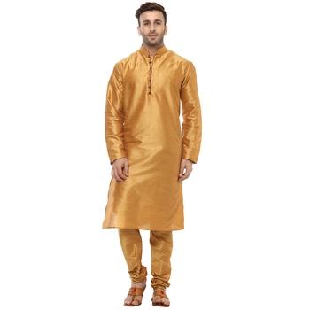 Yellow Plain Silk Blend Kurta Pajama