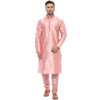 Pink Plain Silk Blend Kurta Pajama