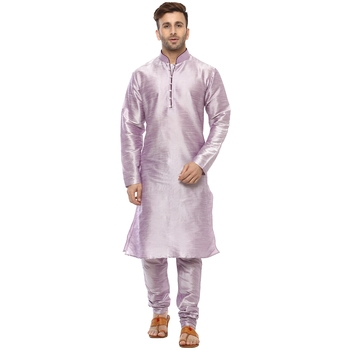 Purple Plain Silk Blend Kurta Pajama