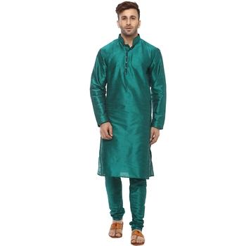 Turquoise Plain Silk Blend Kurta Pajama