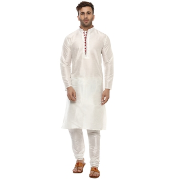 White Plain Silk Blend Kurta Pajama