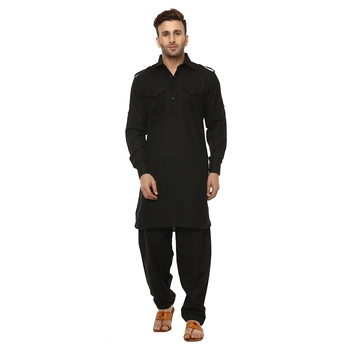 Black Plain Cotton Kurta Pajama