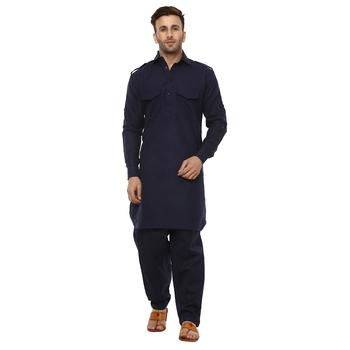 Blue Plain Cotton Kurta Pajama