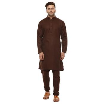 Brown Plain Cotton Kurta Pajama