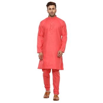 Red Plain Cotton Kurta Pajama