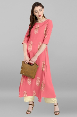 Light-pink printed crepe kurti