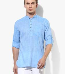Blue plain linen men kurtas