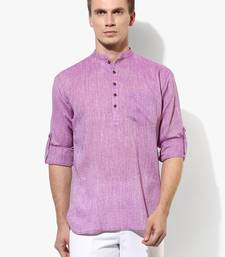 Purple plain linen men kurtas