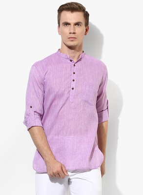 Purple Plain Linen Men Kurtas