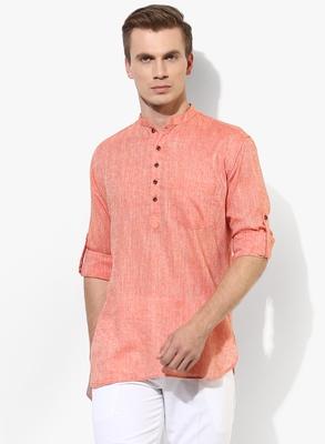 Orange Plain Linen Men Kurtas