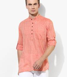 Orange Plain Linen Men Kurtas