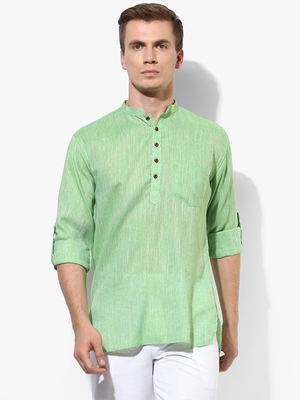 Green Plain Linen Men Kurtas