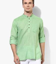 Green plain linen men kurtas