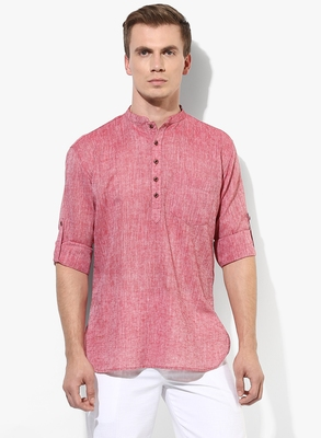 Red Plain Linen Men Kurtas