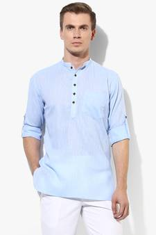 Navy Blue Front And Back Embroidered Men`s Caftan Tops Male Cotton Ethnic Shirts For Summer Wearing Polo