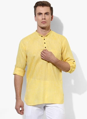 Yellow Plain Linen Men Kurtas