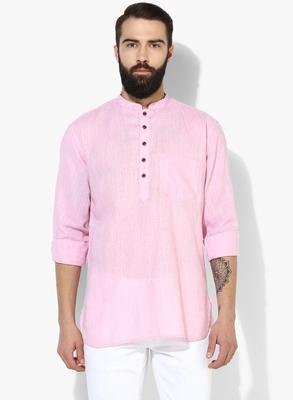 Pink Plain Linen Men Kurtas