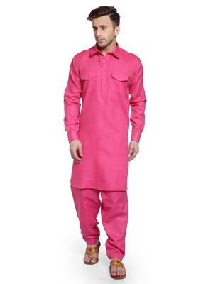Pink Plain Cotton Pathani Suits
