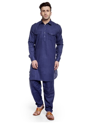 Blue Plain Cotton Pathani Suits