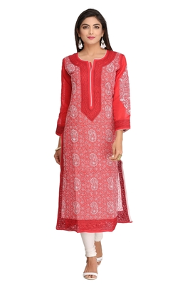 Red Embroidered Cotton Chikankari Kurti