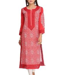 Red embroidered cotton chikankari-kurtis