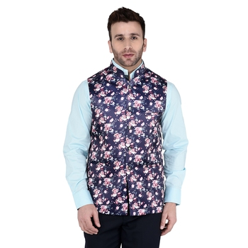 Blue Printed Faux Rayon Nehru Jacket