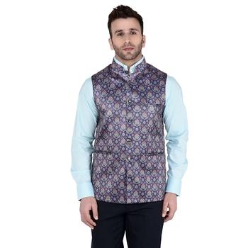 Blue Printed Faux Rayon Nehru Jacket