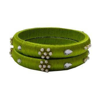 Green silk thread bangles