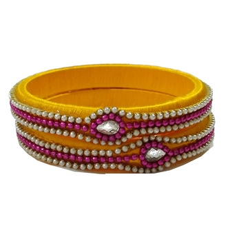 Yellow silk thread bangles