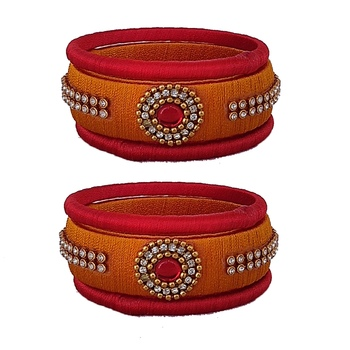 Yellow silk thread bangles