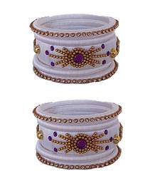 White silk thread bangles