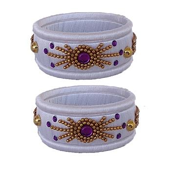 White silk thread bangles