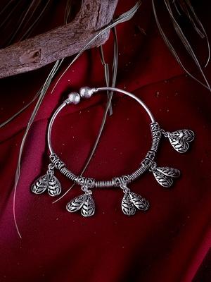 Zerokaata Pine Cone Oxidized Silver Charm Bracelet