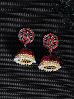 Zerokaata Pink And Black Lotus Meenakari Jhumki Earrings