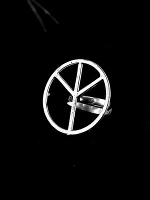 Zerokaata Adjustable Oxidized Silver Hollow Ring