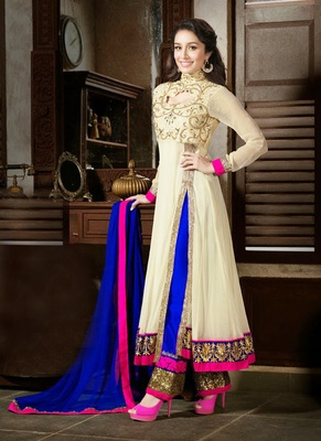 Cream embroidered georgette salwar with dupatta