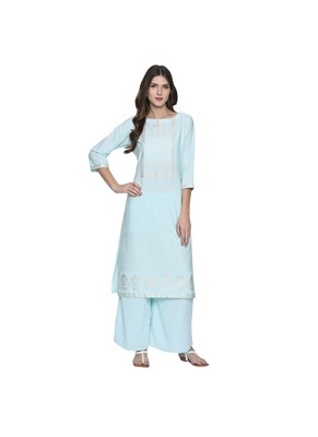 Light Blue Color Straight Foil Print Kurta