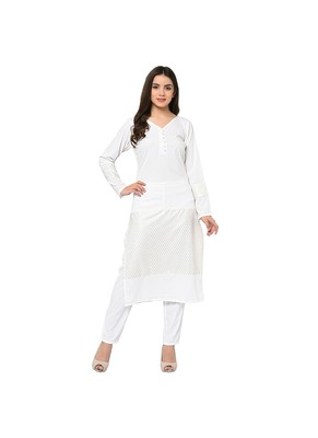 White Color Straight Foil Print Kurta Pant Set
