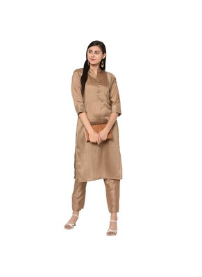 Brown Color Straight Copper Print Kurta