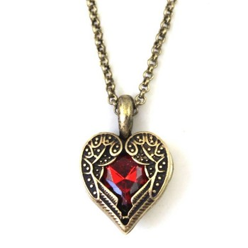 Red Rhinestone Heart Pendant Necklace(CFN0033)