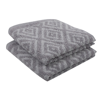 Diamonds Cotton Grey Hand Towel 16 X 24 inch Pack of 2 GSM 500