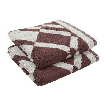 Rhombus Cotton Brown Hand Towel 16 X 24 inch Pack of 2 GSM 500