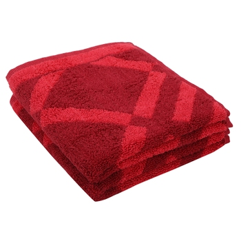 Rhombus Cotton Red Hand Towel 16 X 24 inch Pack of 2 GSM 500