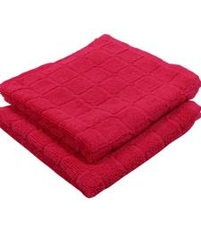 Checkers Cotton Red Hand Towel 16 X 24 inch Pack of 2 GSM 280