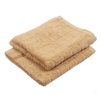 Checkers Cotton Beige Hand Towel 16 X 24 inch Pack of 2 GSM 280